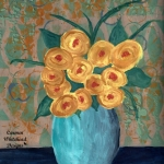 Yellow roses in vase wm