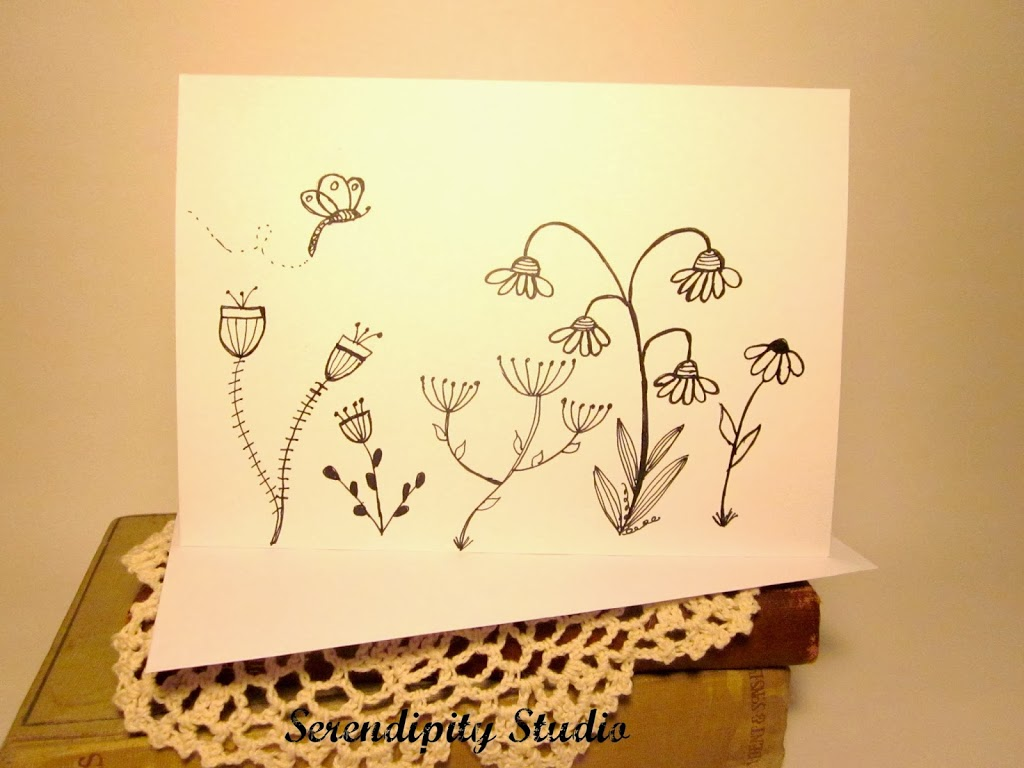 Hand drawn doodled greeting cards