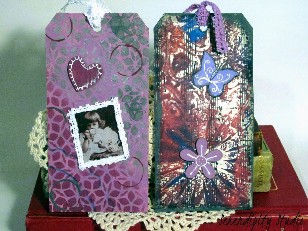 mixed media tags, summer of color four