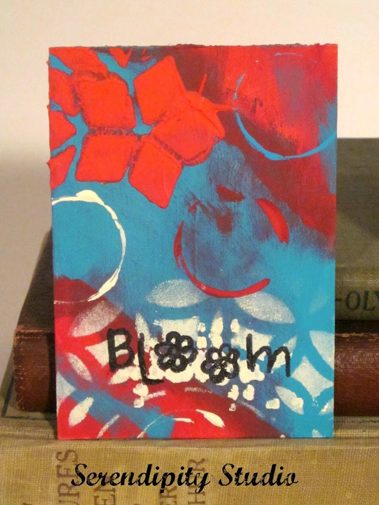 atc card, coral, teal, white, bloom