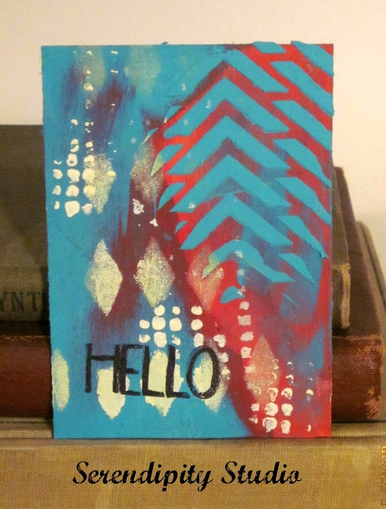 atc card, coral, teal, white, hello