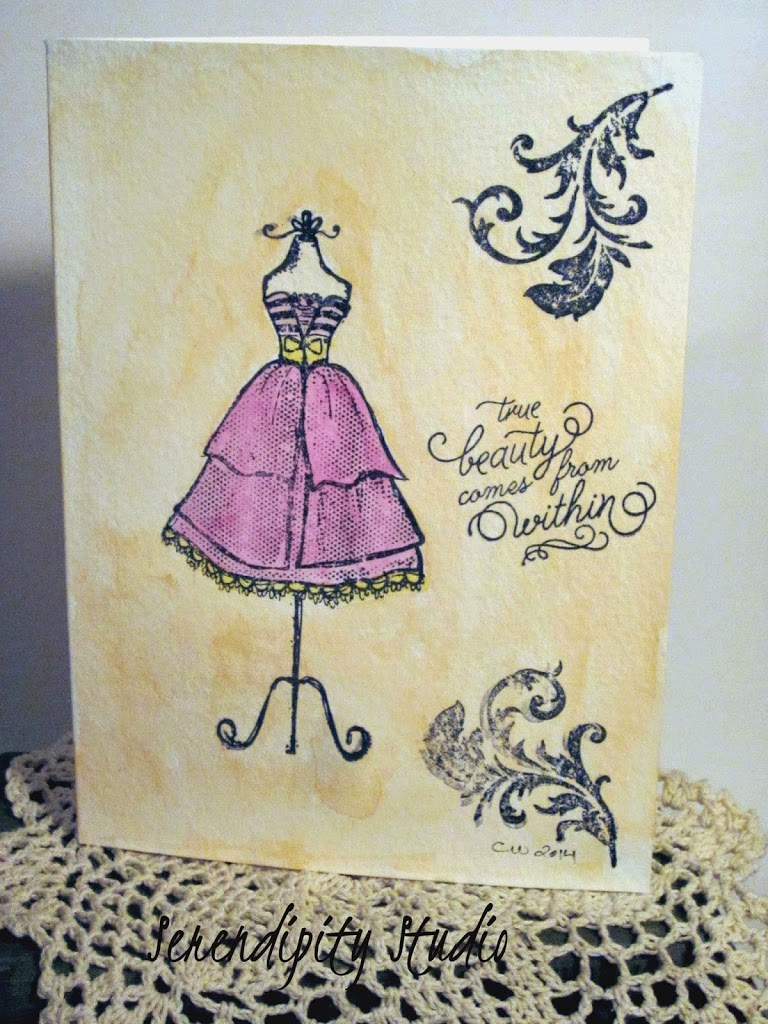 watercolor card, dress form, beauty within