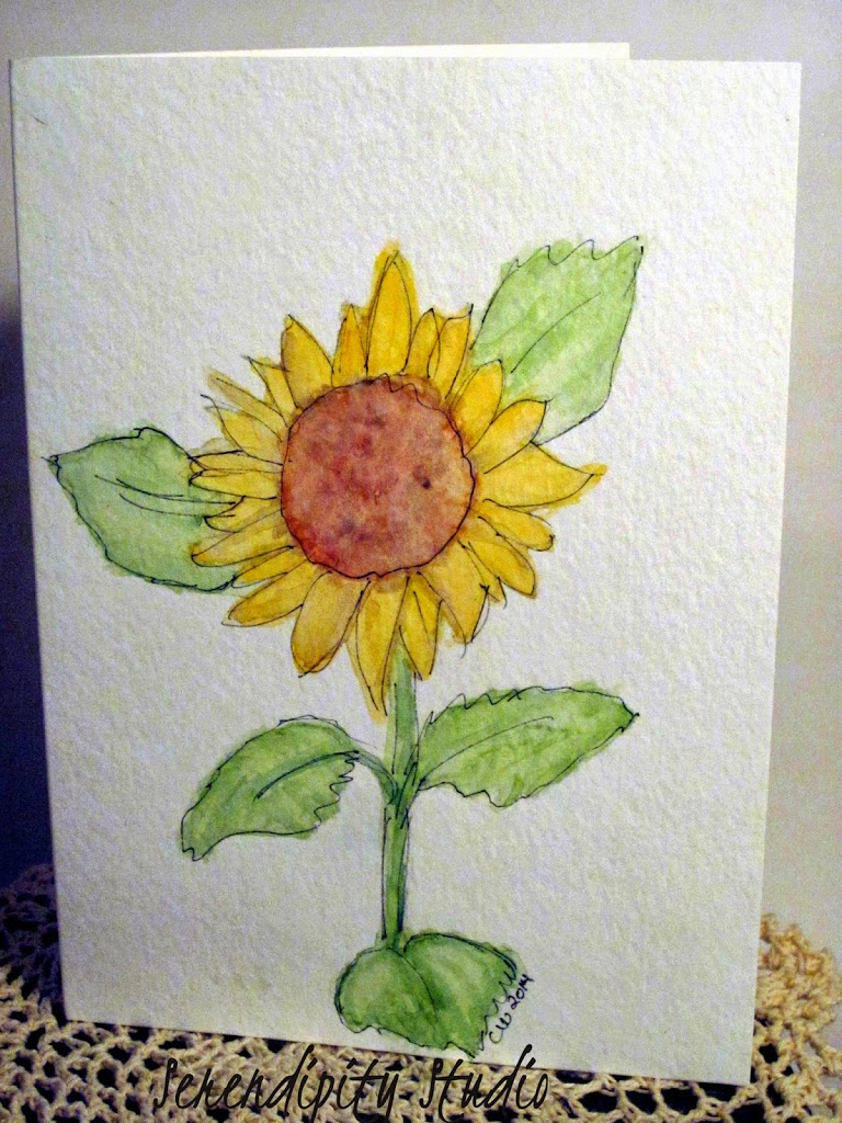 watercolor card, sunflower