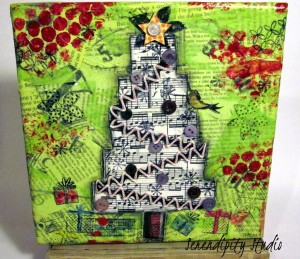 Christmas tree mixed media canvas, christmas in july