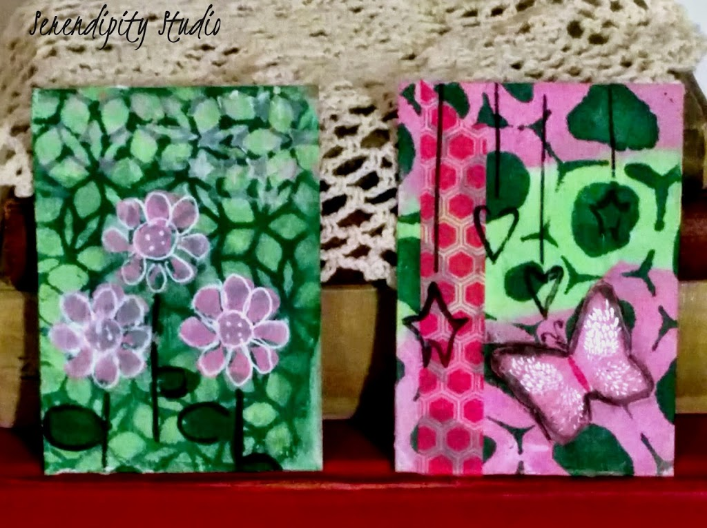 summer of color week four, pink, apple green, dark green, atc cards