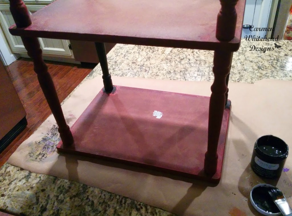 Chalky Finish and stenciled table with DecoArt paint