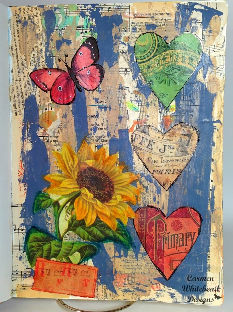 Collage Art Journal Page created by Carmen Whitehead Designs