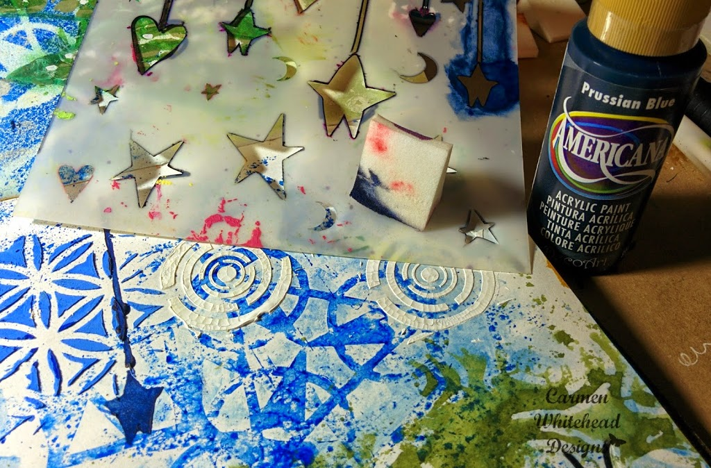 Merry and Bright Art Journal Page with ArtistCellar Stencils by Carmen Whitehead Designs