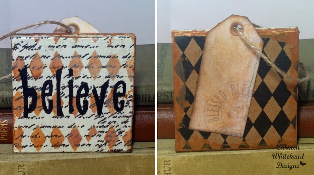 Canvas Christmas Ornaments created by Carmen Whitehead Designs