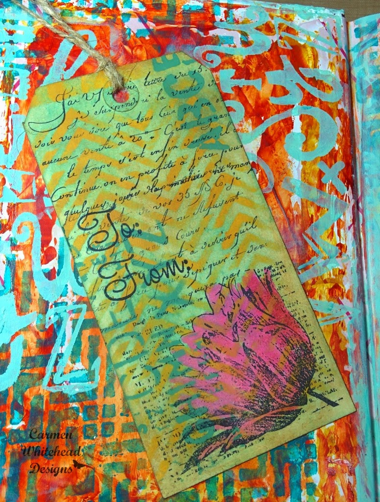 First art journal page in new altered book by Carmen Whitehead Designs