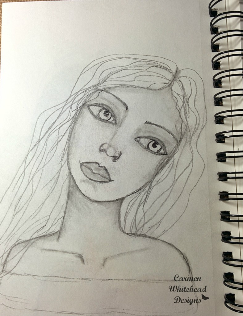 face drawing by Carmen Whitehead Designs
