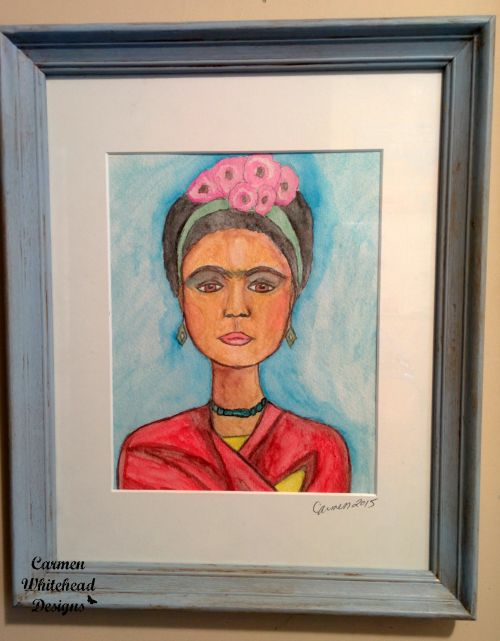 Frida Kahlo on Watercolor paper in blue wood frame created by www.carmenwhitehead.com