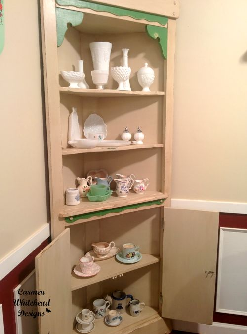 My Vintage Breakfast Nook with a new hutch by www.carmenwhitehead.com