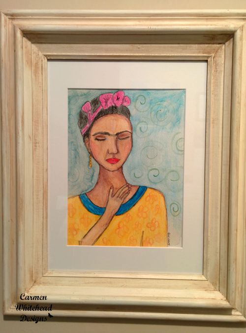 Frida Kahlo Watercolor in white vintage frame created by www.carmenwhitehead.com