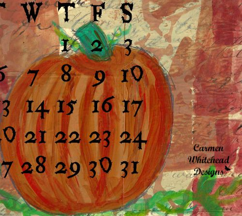 October 2015 calendar page for subscribers to www.carmenwhitehead.com