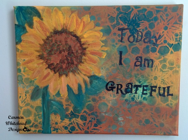 Today I am grateful original acrylic canvas created by www.carmenwhitehead.com