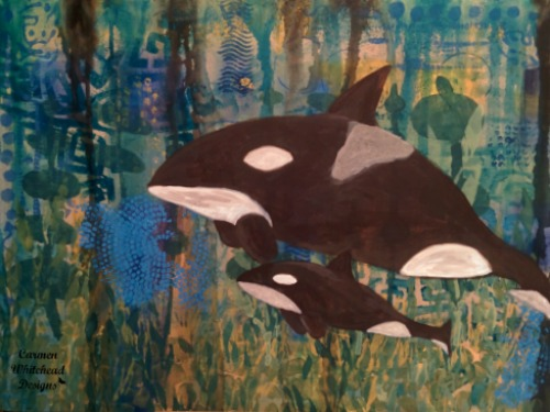 Whale of a canvas created by www.carmenwhitehead.com custom orders