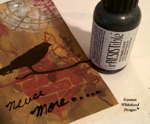 """Halloween Hauntings tag for The Crafter's Workshop. Edgar Allen Poe """"Never more"""", created by www.carmenwhitehead.com"""