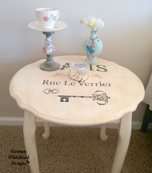 Paris upcycled table for Bella Crafts Publishing created by Carmen Whitehead Designs
