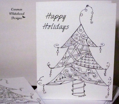 Holiday coloring book with my doodle tree. www.carmenwhitehead.com