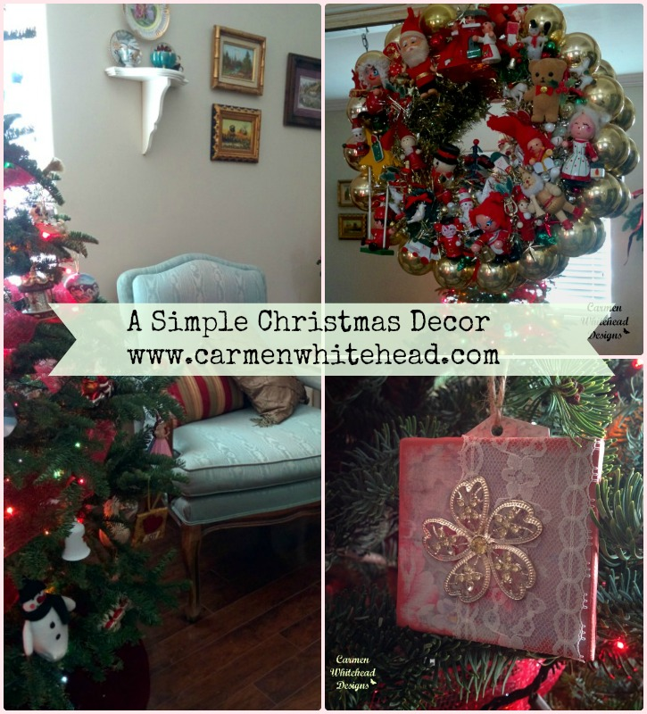 A simple Christmas decor with touches of vintage and handmade created by www.carmenwhitehead.com