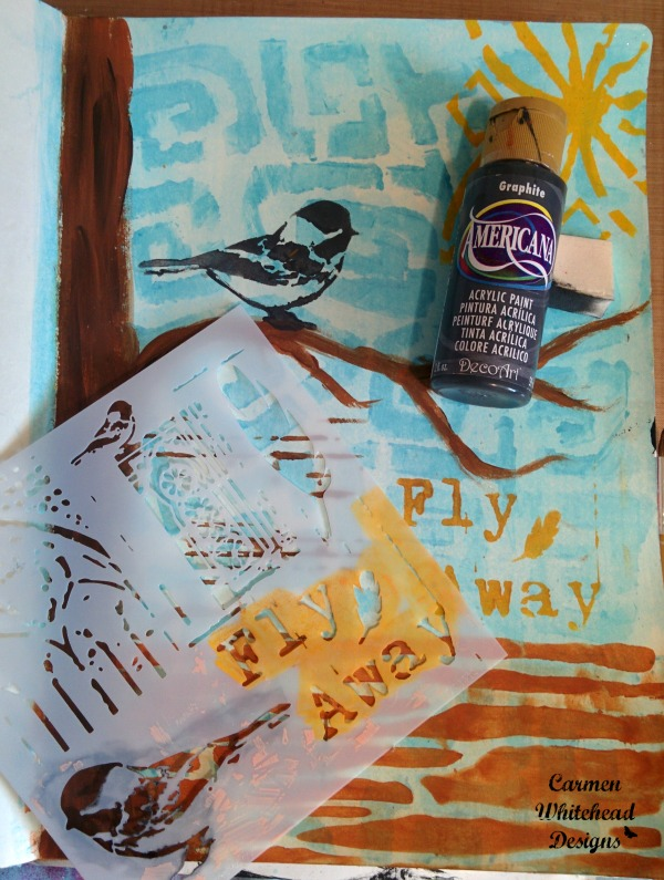 Fly Away art journal page created from left over paint, by www.carmenwhitehead.com for The Crafter's Workshop #tcwstencillove