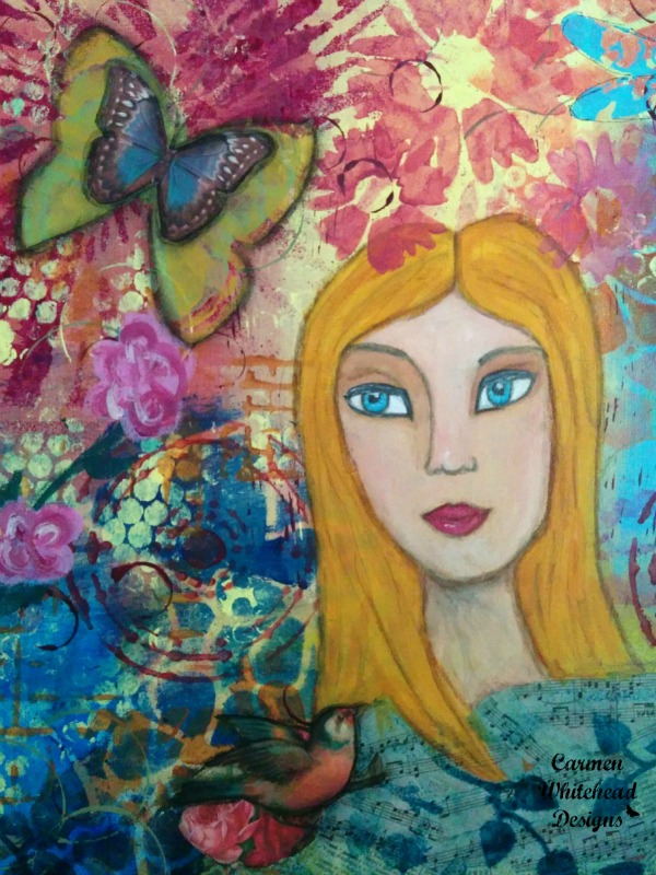 Spring is Blooming Girl original canvas by www.carmenwhitehead.com