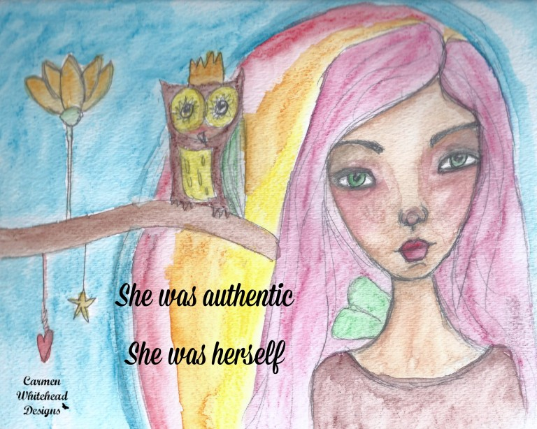 She was authentic, she was herself - watercolor whimsical girl