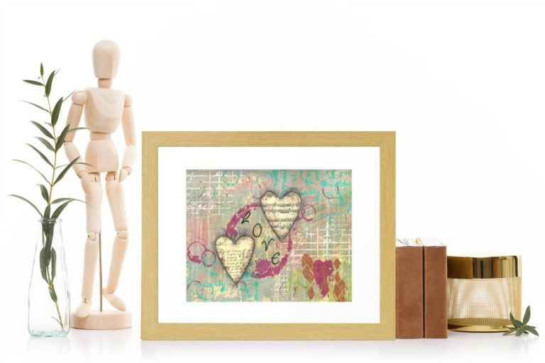 Two Hearts in Love, Valentine's print created by Carmen Whitehead Designs