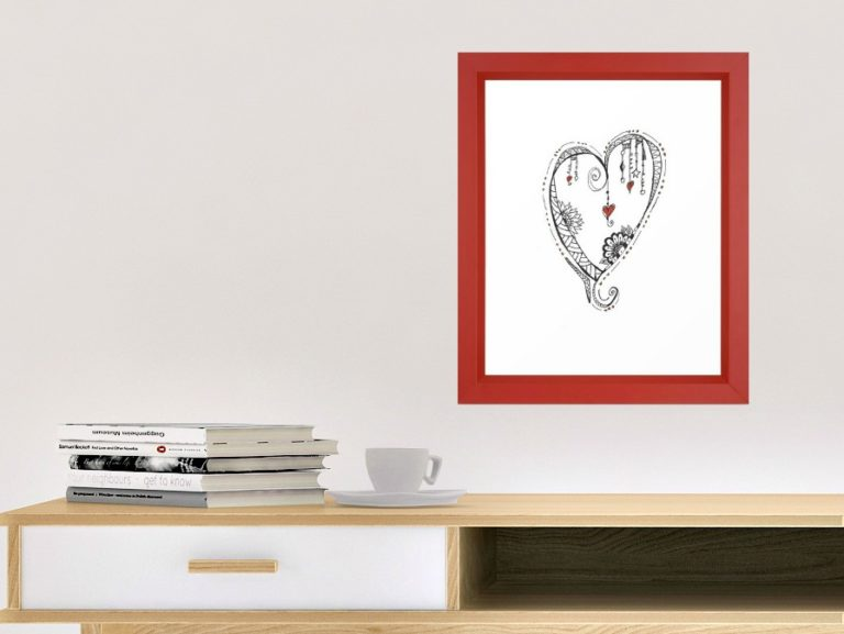 Dangled heart with read hearts, instant download, created by Carmen Whitehead Designs