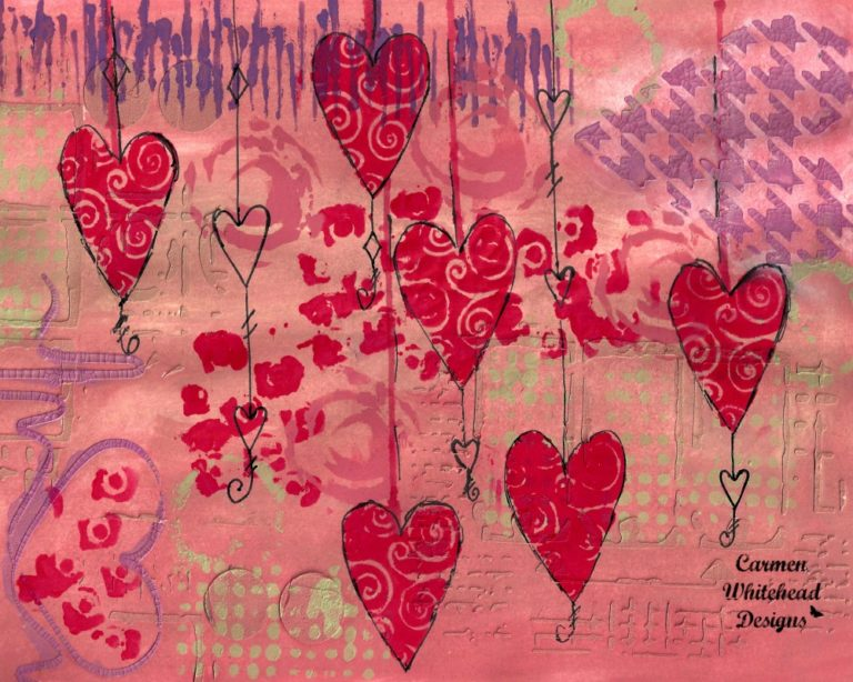 Dangling Hearts journal page is available as downloadable desktop and iphone calendar page created by Carmen Whitehead Designs