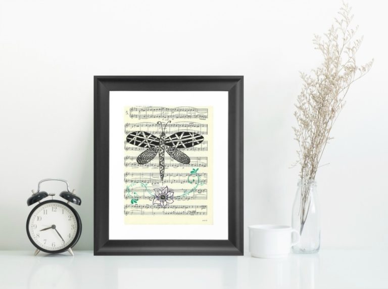 Zentangle Dragonfly on vintage music sheet, instant download, created by Carmen Whitehead Designs