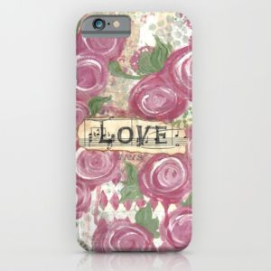 Shabby Rose Love iphone case, design created by Carmen Whitehead