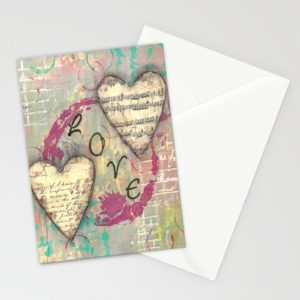 """Two Hearts in Love, 3 pack of 5"""" x 7"""" cards created by Carmen Whitehead"""