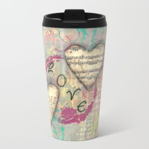 Two Hearts in Love metal travel mug, design created by Carmen Whitehead