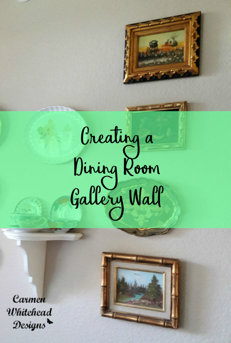 Creating a Dining Room Gallery wall with Thrifty Vintage items - Carmen Whitehead Designs