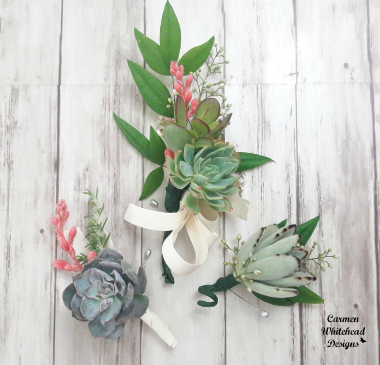 Succulent Boutonniere and Corsage - Carmen Whitehead Designs