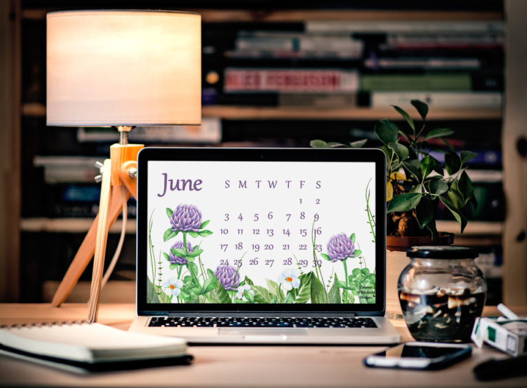 June 2018 Desktop Calendar - Carmen Whitehead Designs