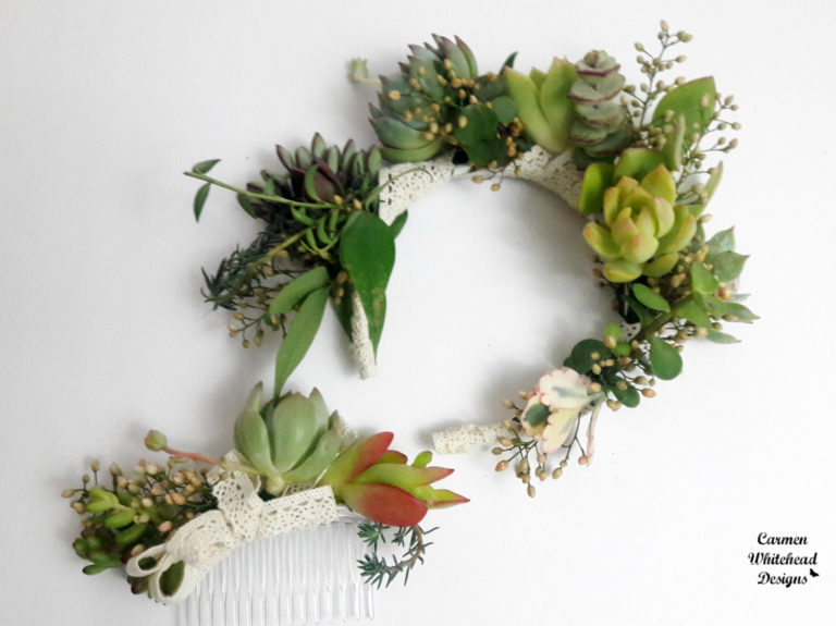Succulent Head pieces - Carmen Whitehead Designs