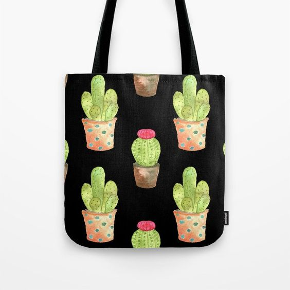 Watercolor Cacti on black background tote bag by Carmen Whitehead Designs