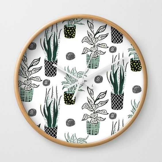 Plant lover clock on Society6 by Carmen Whitehead Designs