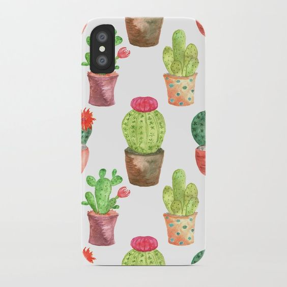 Watercolor Prickly Cacti iphone case by Carmen Whitehead Designs