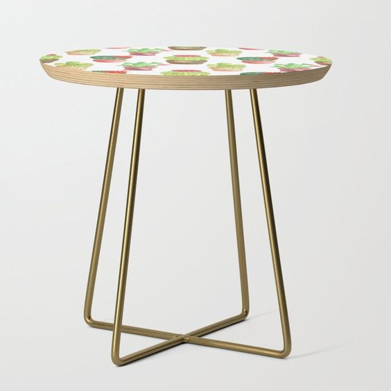 watercolor cacti side table on Society6 by Carmen Whitehead Designs