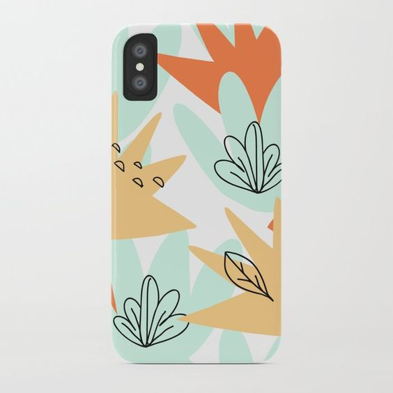 Terra Cotta and Teal geometric design iphone case by Carmen Whitehead Designs