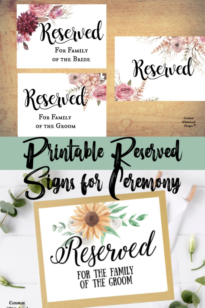 Reserved Signs for Ceremony aisle or Reception table - Carmen Whitehead Designs