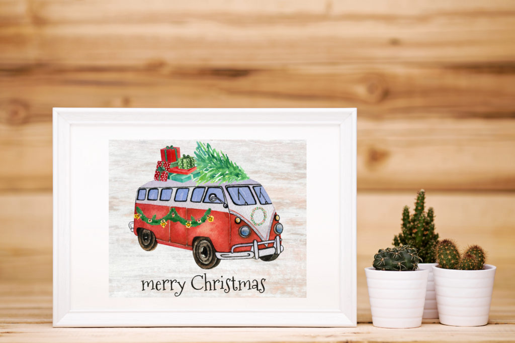 2019 Christmas Collection - Volkswagen bus carrying presents and a tree